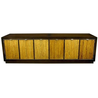 Dark Walnut & Grasscloth Low Cabinet After Harvey Probber For Sale