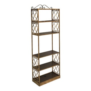 1950s Vintage Scroll Detailed Gilded Metal Etagere For Sale