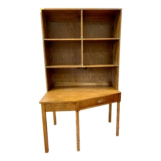 Mid Century Campaign Style Writing Desk With Removable Bookshelf For Sale