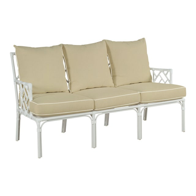 Haven Outdoor Sofa, Antique Beige and White For Sale