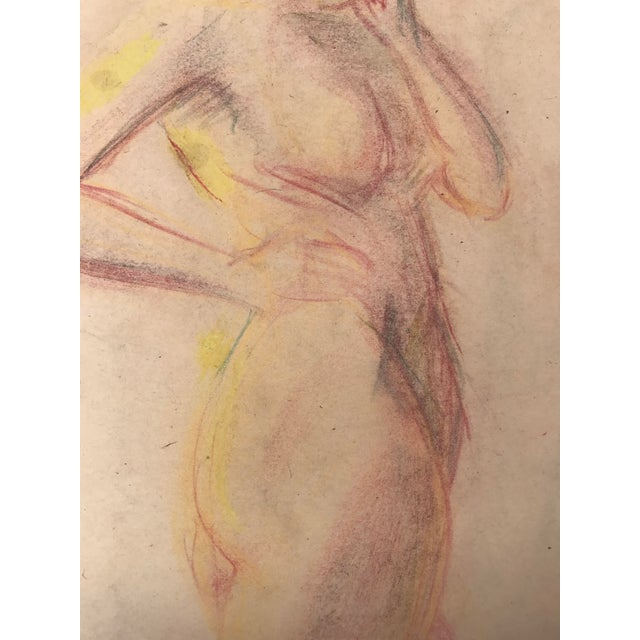 1950s 1950s Vintage Pastel Drawing Study of a Nude For Sale - Image 5 of 5