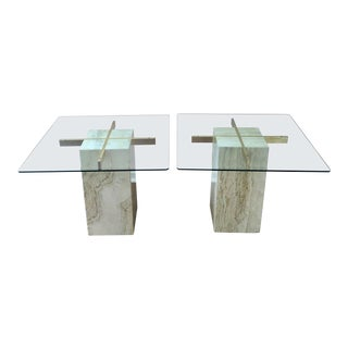1970s Hollywood Regency Artedi Travertine and Brass End Tables - a Pair For Sale