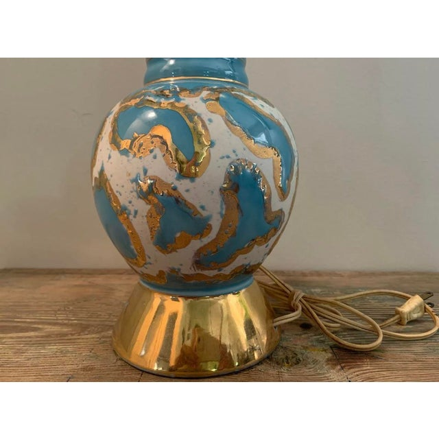 Mid-Century Modern 1957 Mid Century Modern Royal DI Monte 22k Gold Hand Painted Lamp Base For Sale - Image 3 of 5