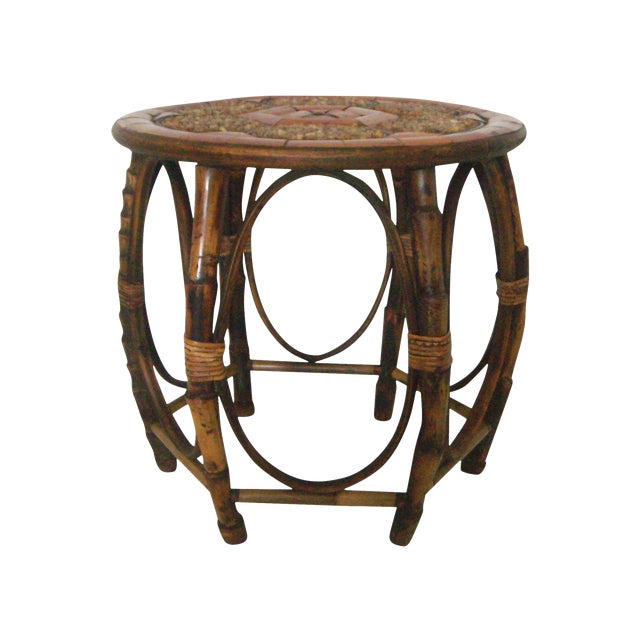 Vintage Mid Century Stone and Burnt Bamboo Round Drum Drinks or Side Table For Sale