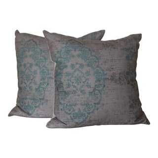 Turquoise Distressed Turkish Rug Print Pillow - a Pair-16''
