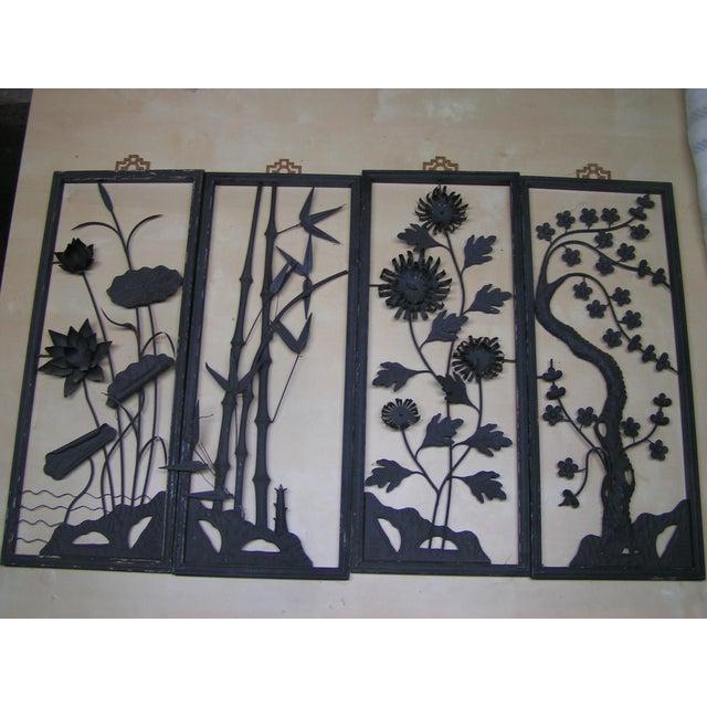 Vintage 1940\'s Chinese Cut Metal Wall Art Panels - Set of 4 | Chairish