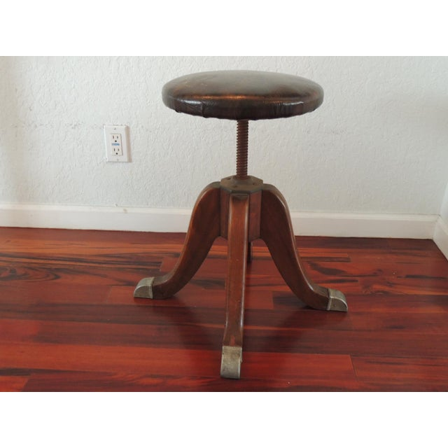 Metal Vintage Hamilton Wood and Iron Industrial Rolling Swivel Stool For Sale - Image 7 of 8