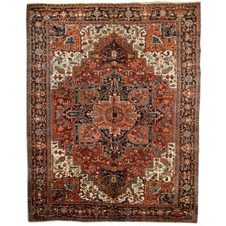 """Traditional Antique Heriz Rug - 9'10"""" x 13' For Sale"""