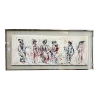 "Vintage ""Six Geisha Girls"" Lithograph by Edna Hibel For Sale"