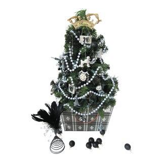Paris Themed Christmas Tree in Black & White Fleur De Lis Tole Container