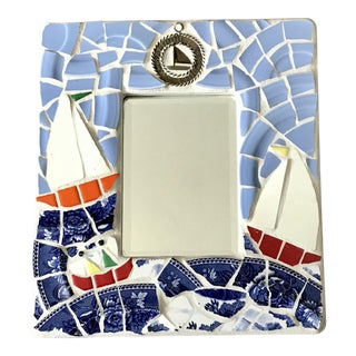 Artisan Blue and Red Nautical Mosaic Sailboats Wall Mirror For Sale