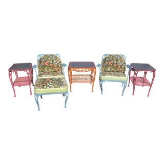 1960s Wrought Iron Patio Furniture - Set of 6 For Sale
