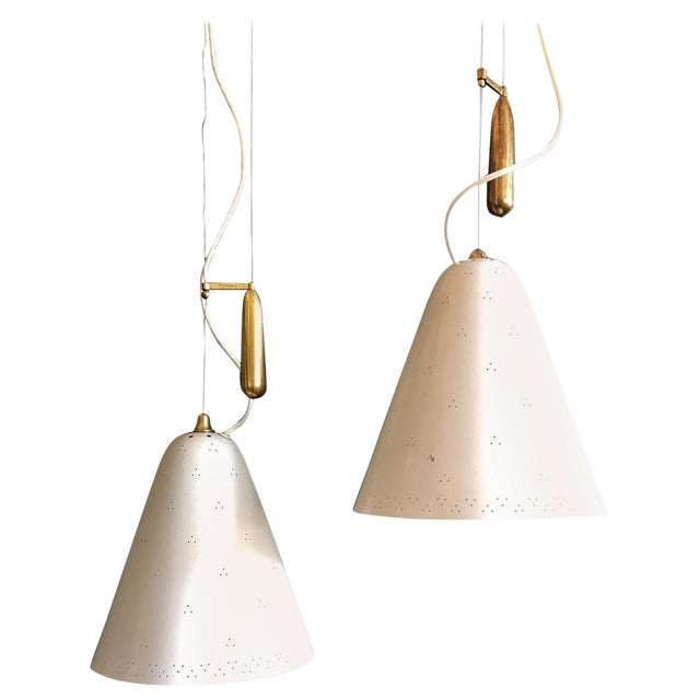 Pair of Pendants by Paavo Tynell For Sale