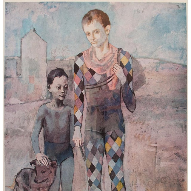 Lithograph 1950s Picasso, Original Period Blue Harlequin Lithographs - a Pair For Sale - Image 7 of 13