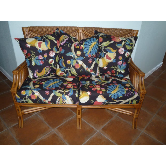 Tommy Bahama Style Bentwood Rattan Settee - Image 6 of 9