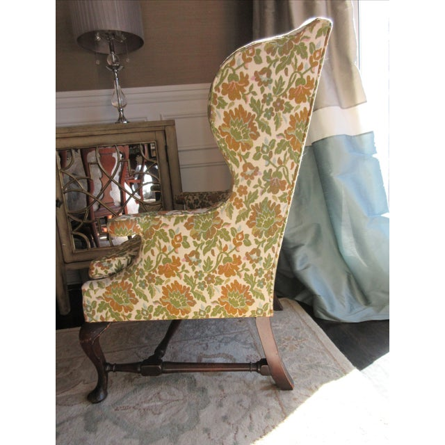 Antique Green & Orange Floral Wing Chair - Image 3 of 8