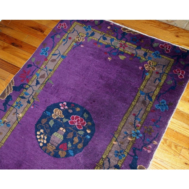 Art Deco 1920s, Hand Made Antique Art Deco Chinese Rug 2.10' X 4.9' For Sale - Image 3 of 13