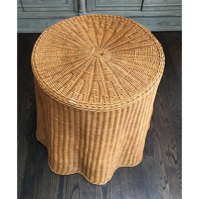 Boho Chic 1970s Boho Chic Trompe l'Oeil Draped Wicker Rattan Ghost Table For Sale - Image 3 of 11