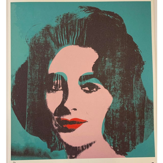 """Contemporary Turquoise Andy Warhol Limited Edition """"Liz, 1964"""" Stone Signed, Numbered, and Authenticated Lithograph For Sale - Image 3 of 12"""