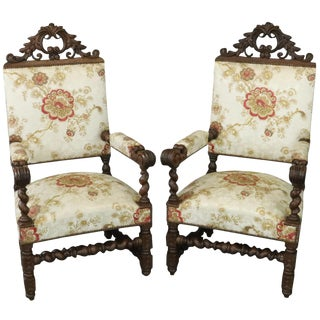 Thrones Pair Renaissance 1880 French Arm Chairs - a Pair For Sale