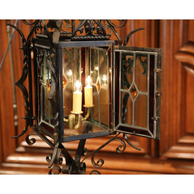 Art Glass 19th Century French Napoleon III Black Iron Lantern With Stained Glass Panels For Sale - Image 7 of 9