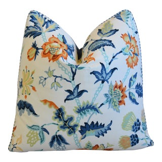 """Schumacher Rambling Scottish Thistle & Floral Feather/Down Pillow 21"""" Square For Sale"""