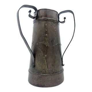 Imperial Russian Arts & Crafts Style Copper and Brass Vase For Sale