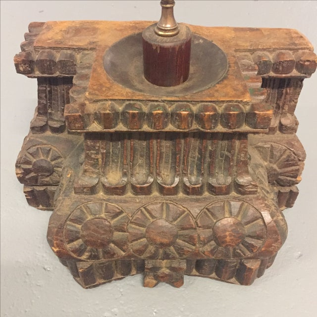 Antique Hand Carved Column Lamp - Image 9 of 11