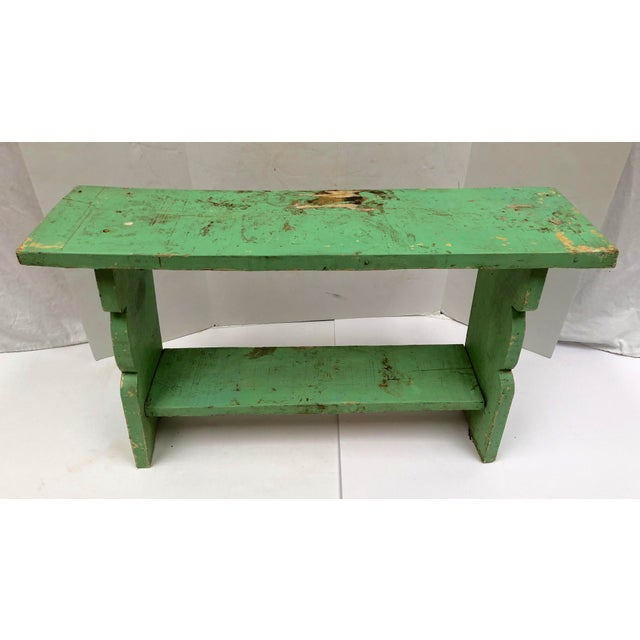 1800s French Country Farmhouse Painted Bucket Bench For Sale - Image 4 of 12