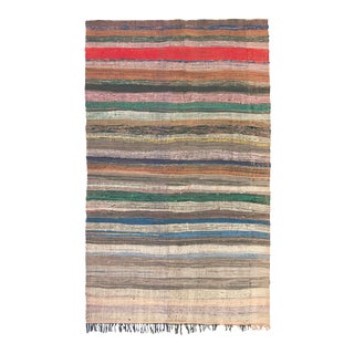 """Mid 20th Century Moroccan Rag Rug - 4'10"""" X 8'2"""" For Sale"""