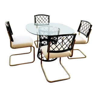 Mid Century Rattan & Brass Round Glass Dining Set For Sale