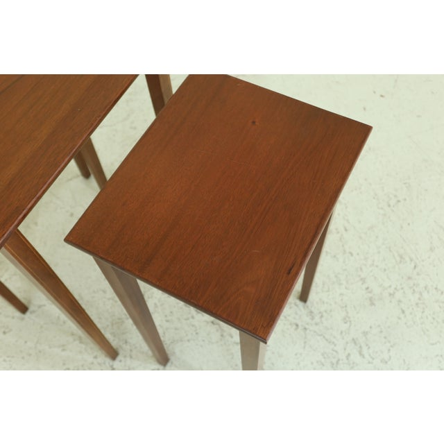 Wood Biggs 3 Piece Inlaid Mahogany Nesting Stack Tables For Sale - Image 7 of 10