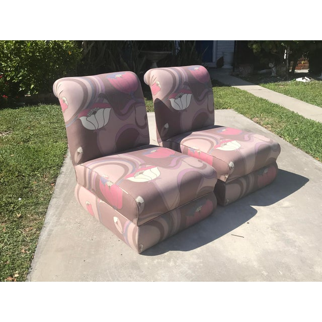 Boho Chic Pair of Jack Lenor Larsen Style Chairs For Sale - Image 3 of 10