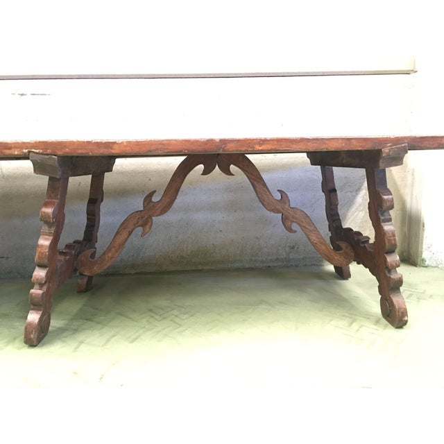 Early 19th Century French Baroque Style Walnut Trestle Dining Farm Table 163´ For Sale - Image 4 of 13