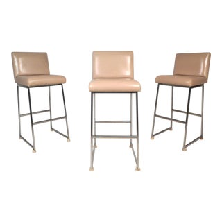 Set of Three Mid-Century Chrome and Vinyl Stools For Sale