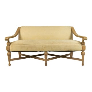 1960s Yellow Floral Maple Settee