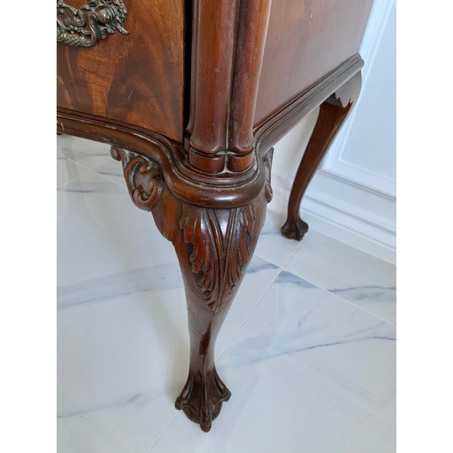 Metal Antique Ca 1900's Georgian Chippendale English Style Mahogany Claw Feet Highboy Dresser For Sale - Image 7 of 13