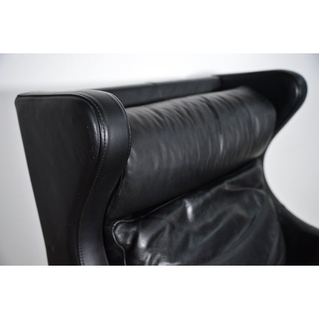 1960s 1960s Vintage Danish Borge Mogensen Style Black Leather Chair and Ottoman For Sale - Image 5 of 8