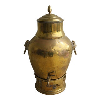 Large Brass Samovar with Foo Dog Handles