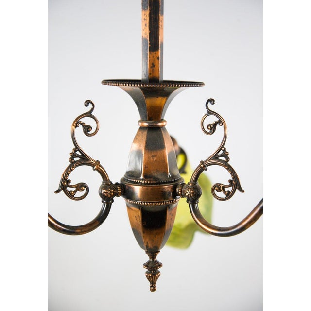 1930s Victorian Copper and Green Frosted 3 Light Chandelier For Sale - Image 11 of 13