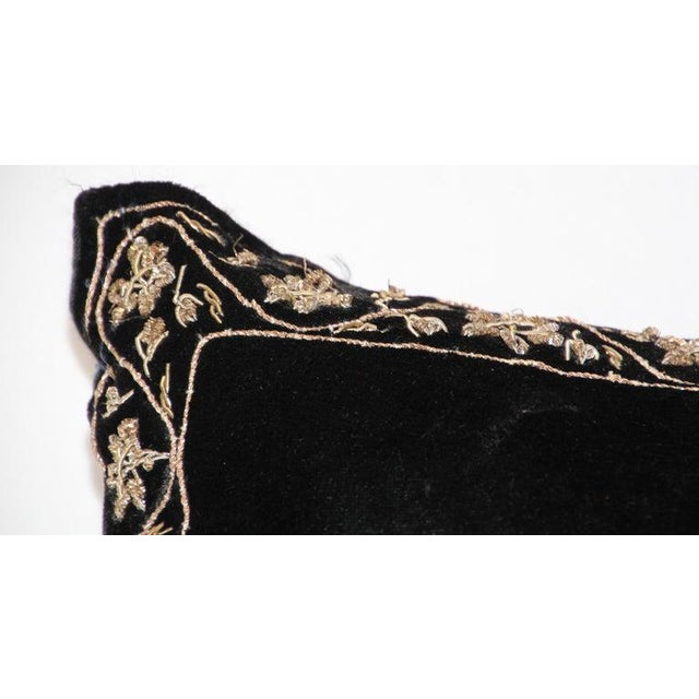 Black Velvet Throw Pillow Embroidered With Metallic Gold Threads For Sale - Image 10 of 13
