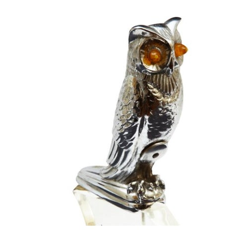 Electrified owl car mascot or hood ornament mounted on custom Lucite base. Jeweled eyes light up, making this a perfect...