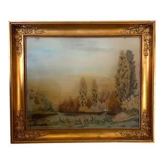 Antique European Needlework Landscape Framed Painting For Sale