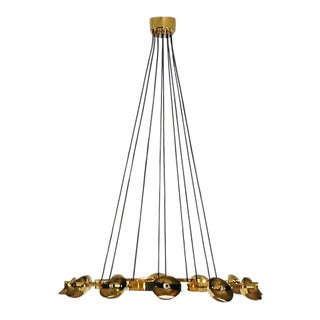 Vintage Stilnovo Style Chandelier Brass and Murano Glass For Sale