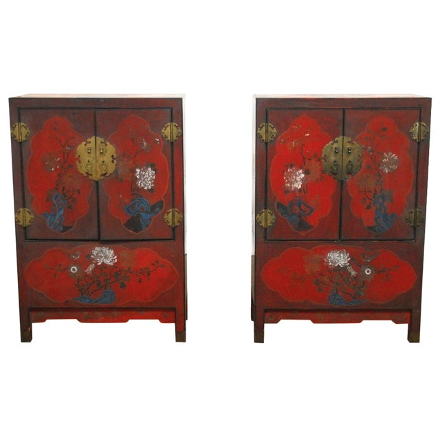 Red Chinese Polychrome Cabinets - A Pair - Image 1 of 8
