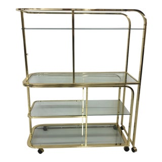 Vintage Mid-Century Modern Milo Baughman Expandable Brass Etagere or Bar Cart For Sale