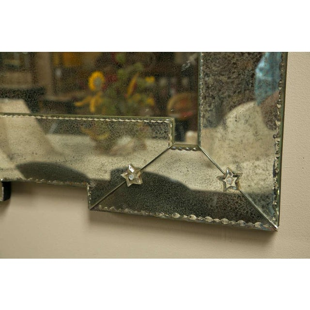 Art Deco Style Distressed Venetian Mirrors - Pair - Image 3 of 5