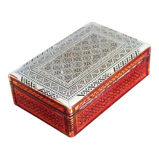Wooden Box With Mother of Pearl Inlay For Sale