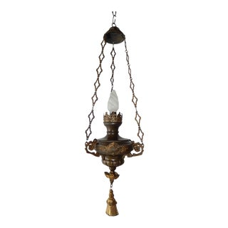 French Gothic Church Sanctuary Lamp Chandelier, circa 1890 For Sale
