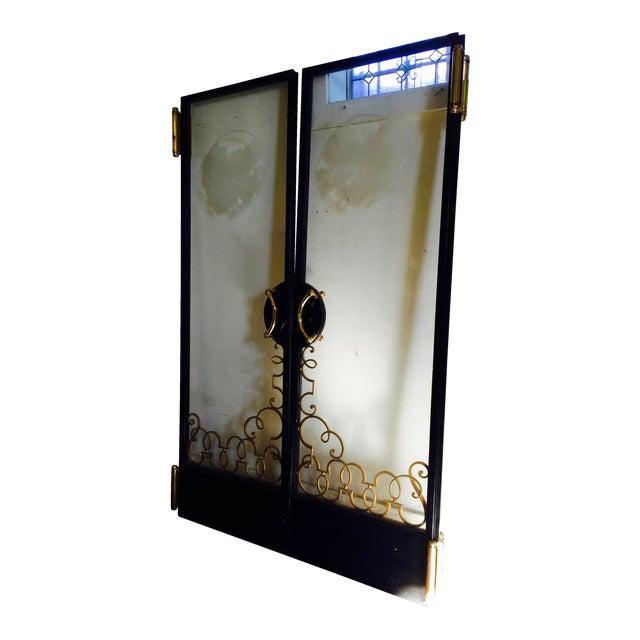Art Nouveau Glass Cruise Ship Doors - Pair For Sale